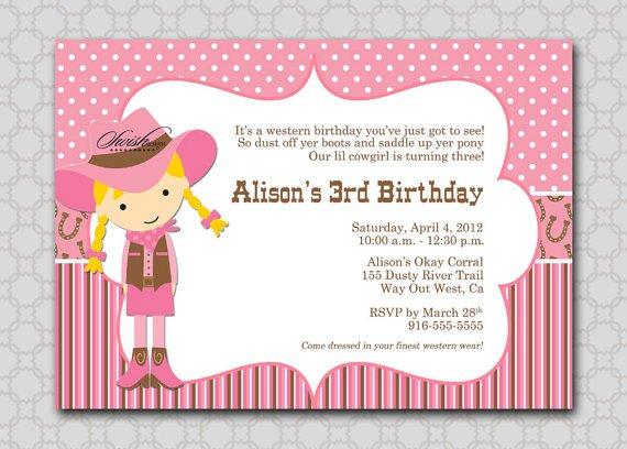 Cowgirl Birthday Invitations Printable