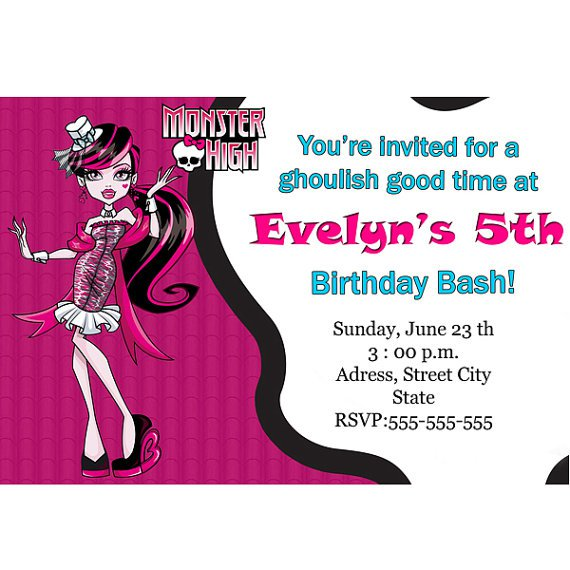 Create Your Own Monster High Invitations