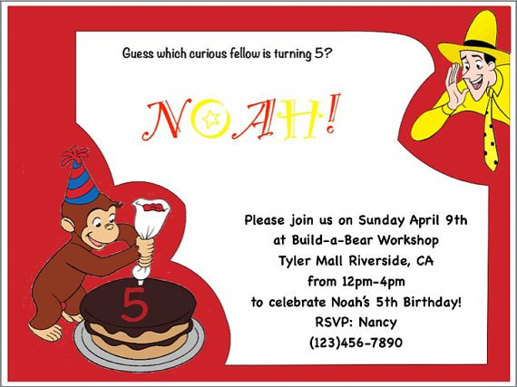 Curious George Invitations Etsy