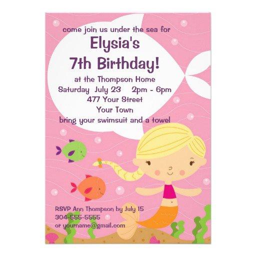 Custom Mermaid Birthday Invitations