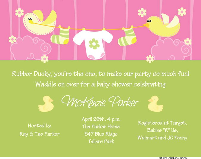 Cute Baby Girl Shower Invitations Wording