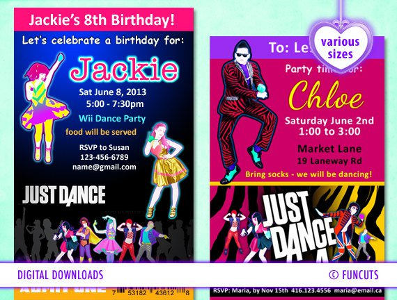 Dance Party Birthday Invitations