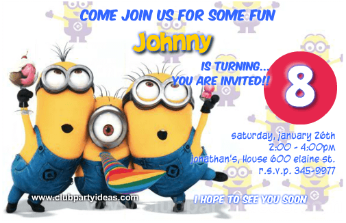 Despicable Me Birthday Invitations Printable