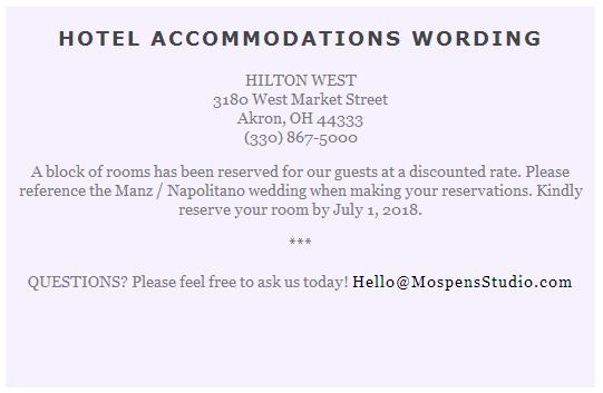 Destination Wedding Invitation Inserts Examples