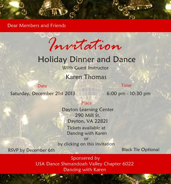 Dinner Dance Invitations Templates