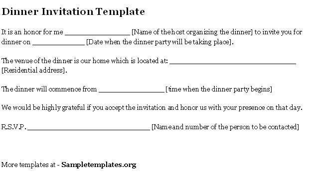 Dinner Invitation Letter Sample Free