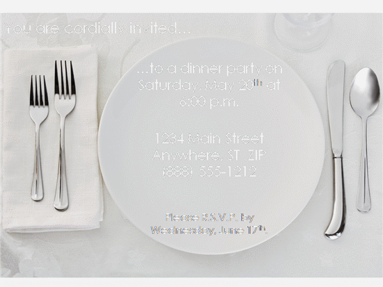 Dinner Party Invitations Templates Free