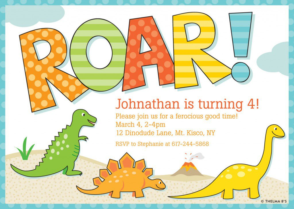 Dinosaur First Birthday Invitation Wording