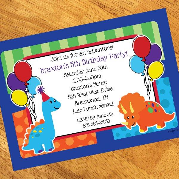 Dinosaur Personalized Invitations