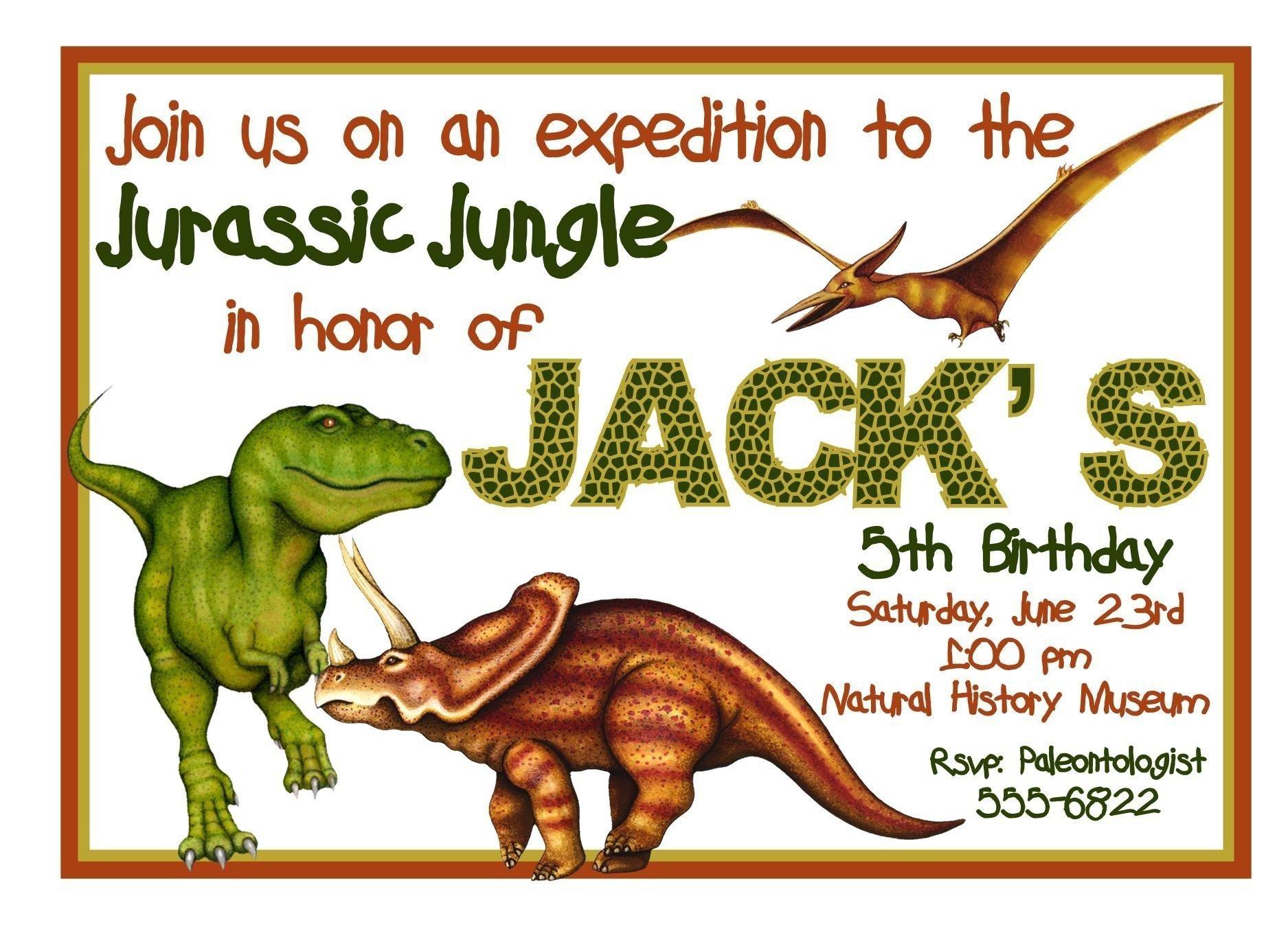 Dinosaur Printable Invitation Templates