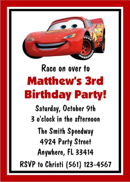 Cars Birthday Invitation Templates – Disney Cars Birthday Invites