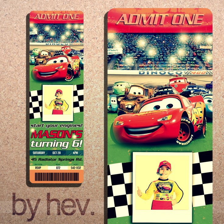 Disney Cars Personalized Party Invitations
