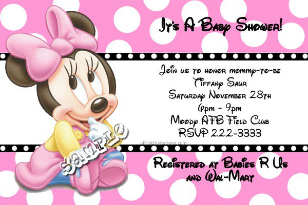 Disney Minnie Mouse Baby Shower Invitations