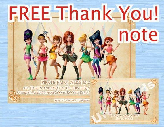 Disney Pirate Fairy Birthday Invitations