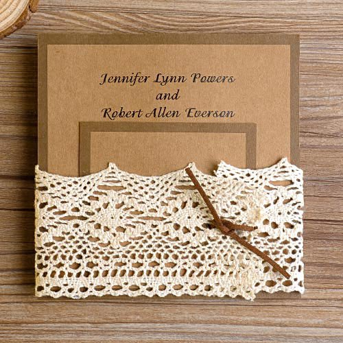 Diy Lace Pocket Wedding Invitations