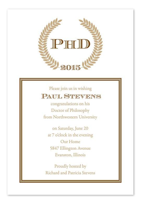 Doctoral Graduation Party Invitation Wording