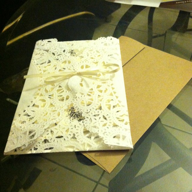 Doily Wrapped Wedding Invitations
