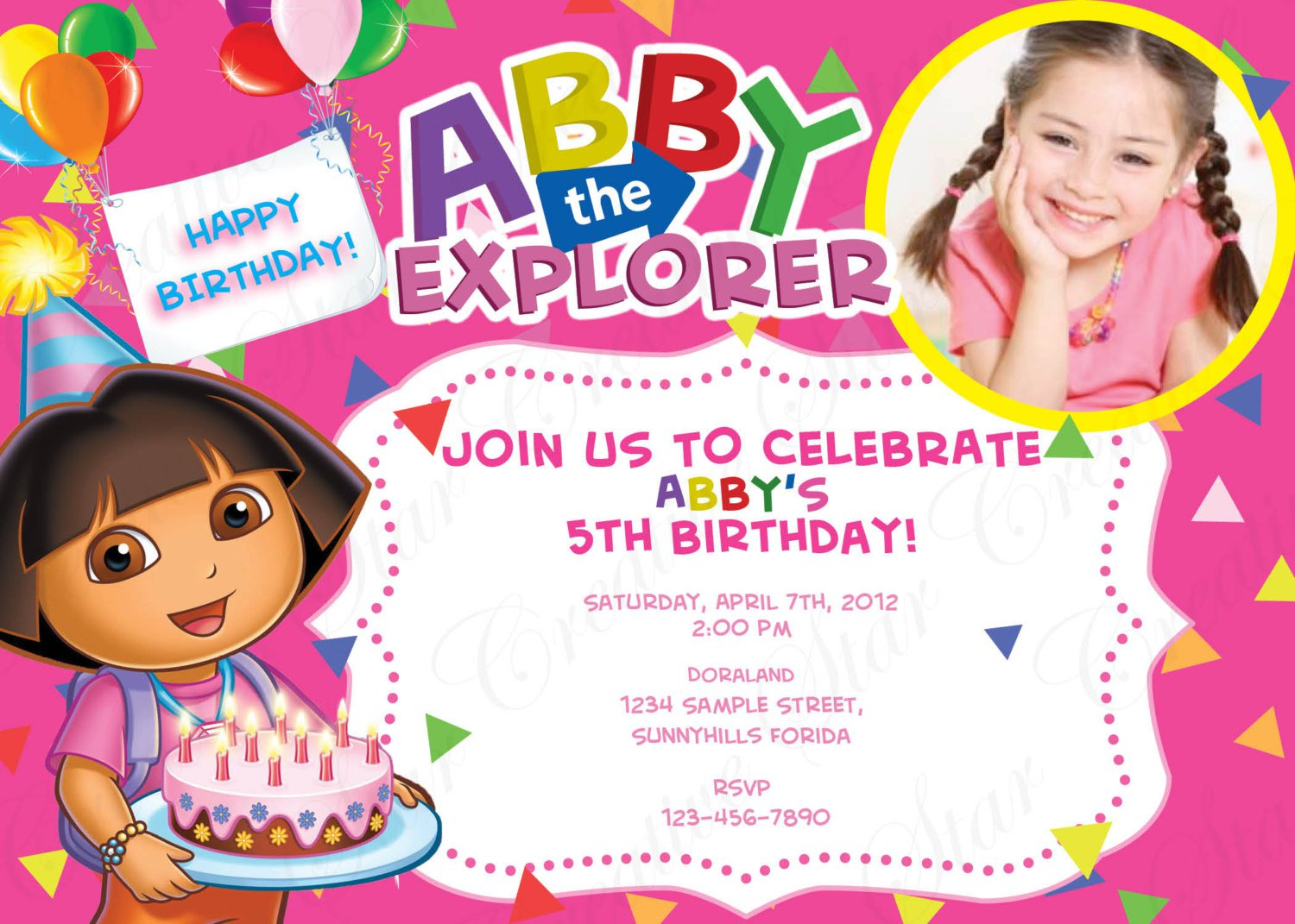 Dora And Boots Birthday Invitations