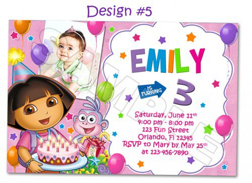 Dora And Boots Invitations