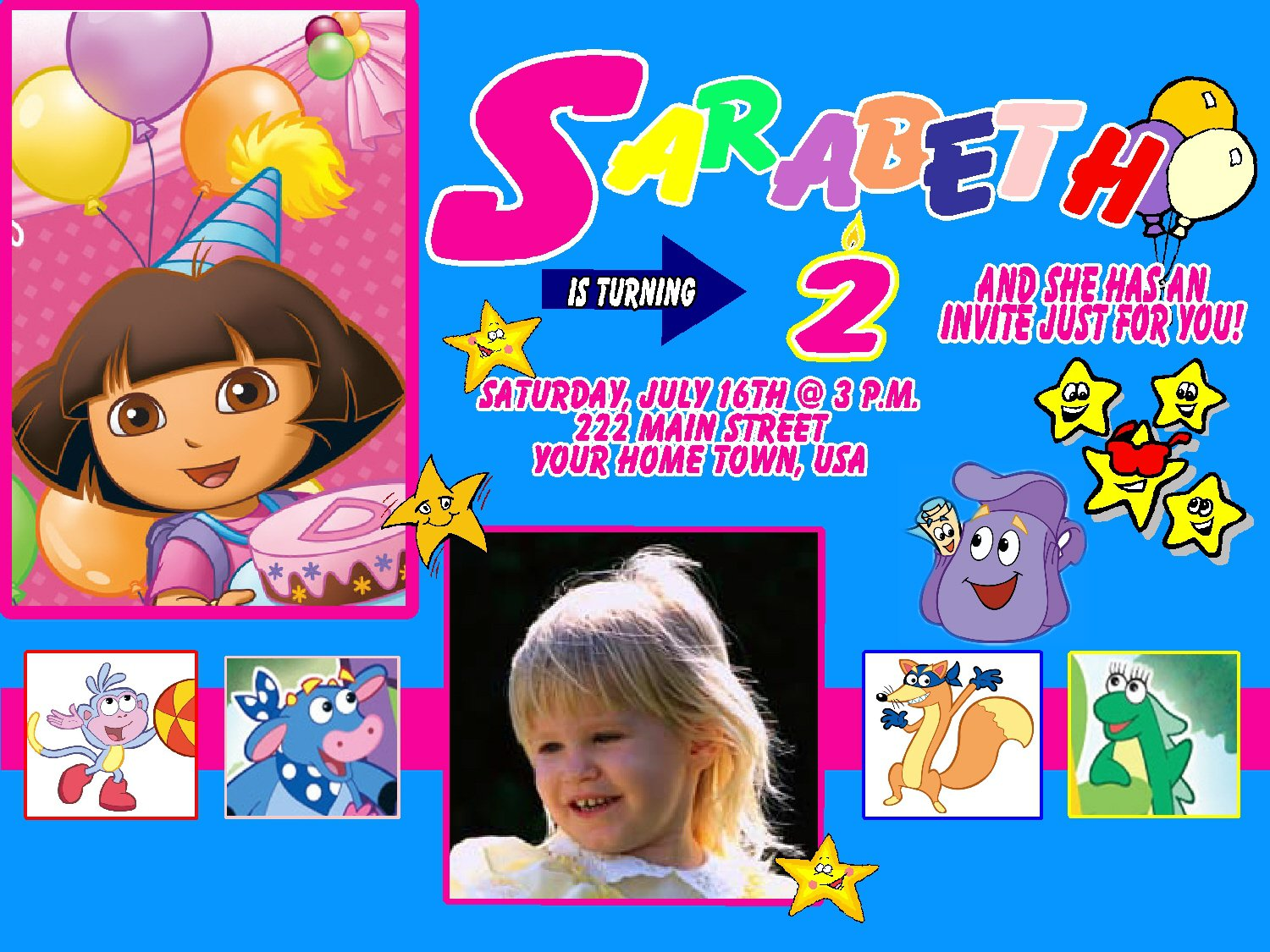Dora Birthday Invitations Templates Free