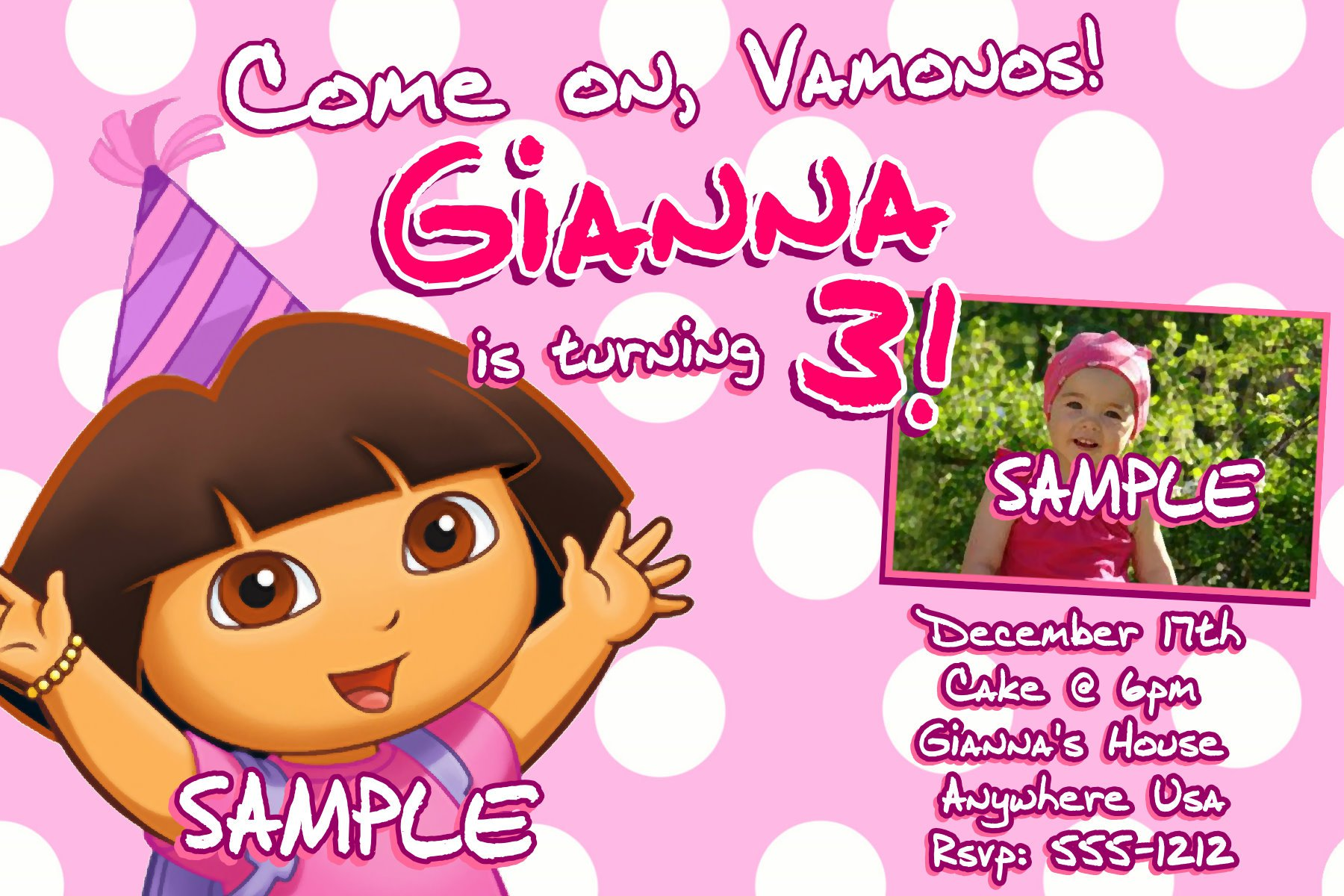 Party Invitations Printable Free – Printable Dora Birthday Invitations