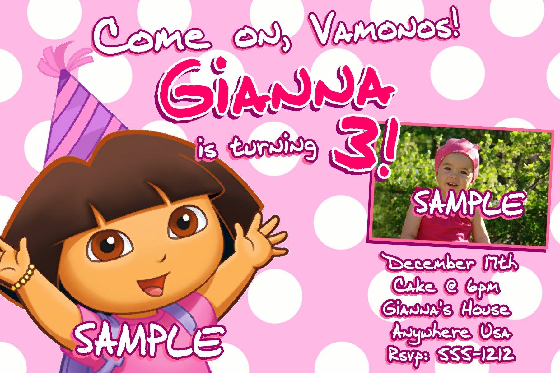 Dora Party Invitations Printable Free