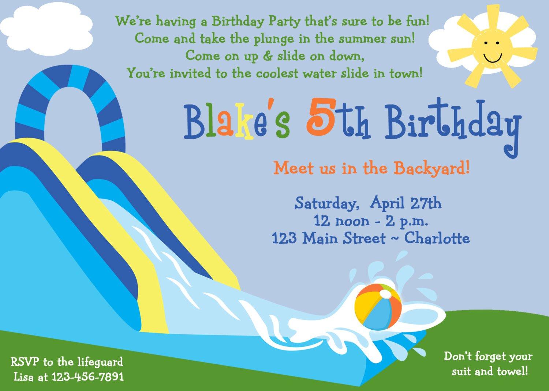 Birthday Invitations Water Slide