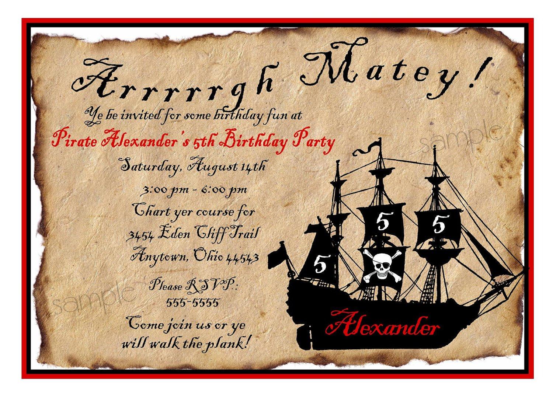 Downloadable Pirate Invitations