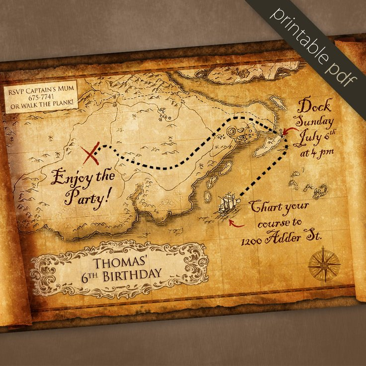 Downloadable Pirate Party Invitations