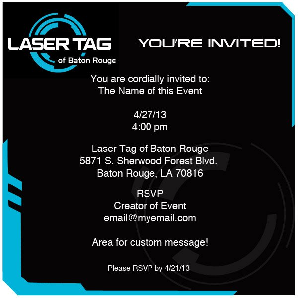 Electronic Invitation Laser Tag