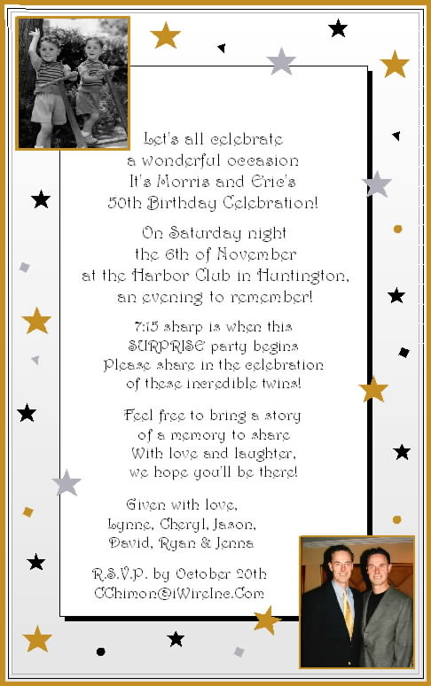Elegant 50th Birthday Invitation Wording