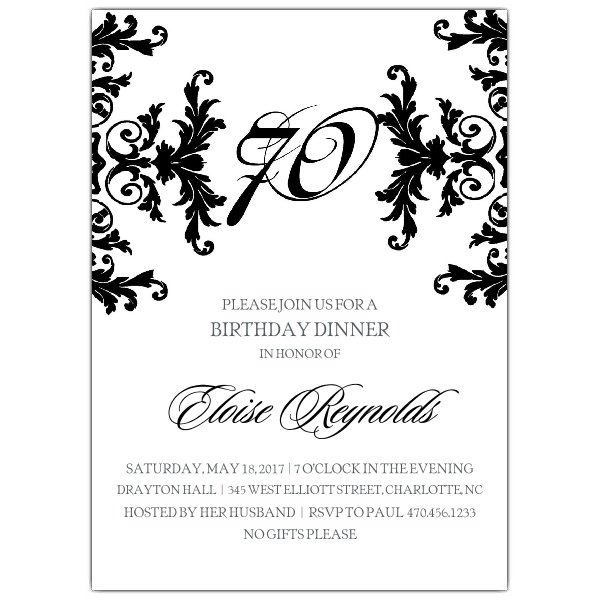 Elegant 50th Birthday Invitation Wordings
