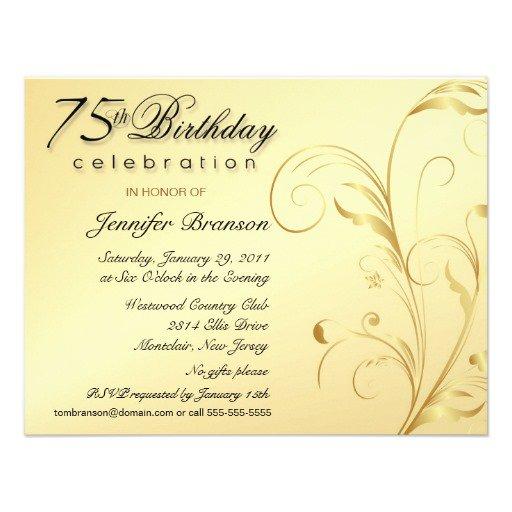 Elegant 75th Birthday Invitations