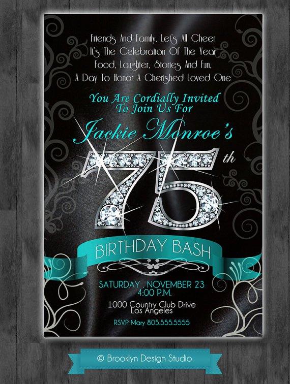 Elegant 75th Birthday Party Invitation