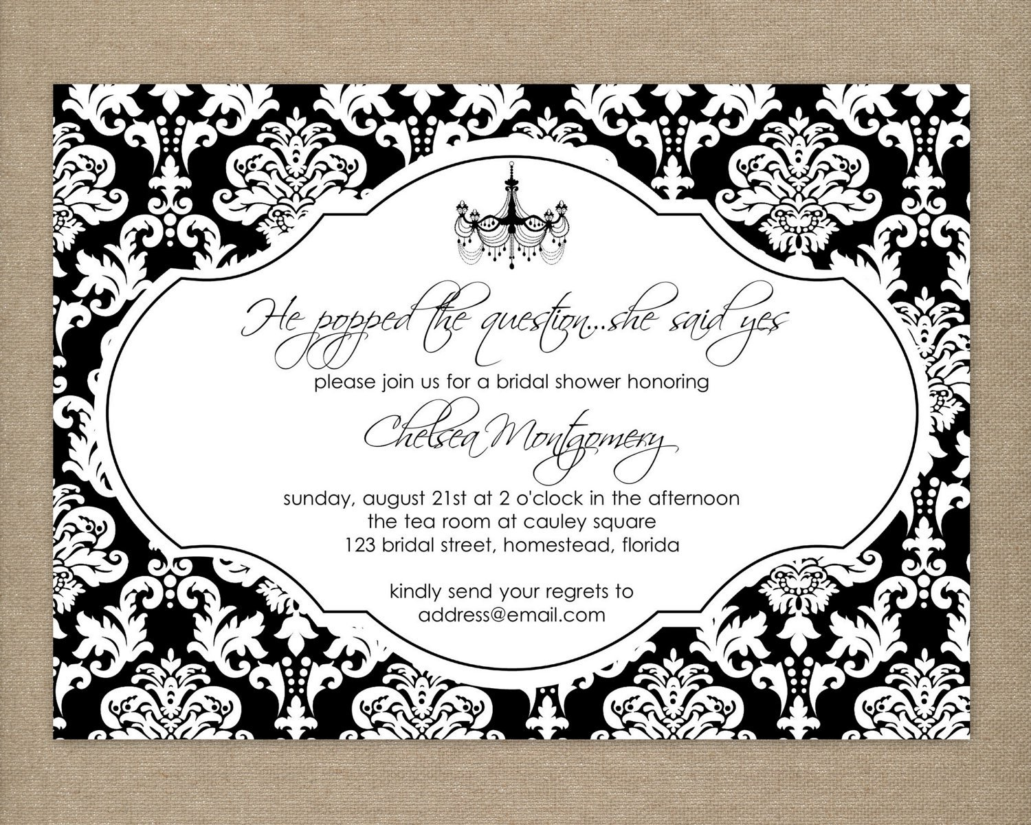 Elegant Invitation Black And White Designs