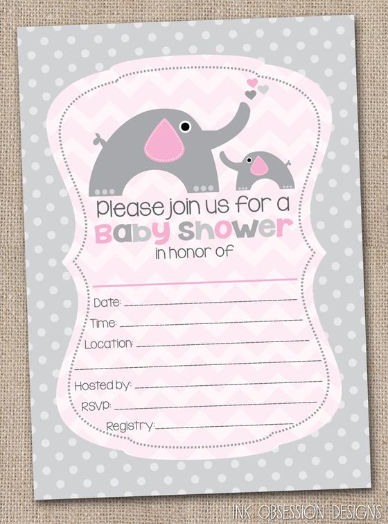 Elephant Baby Shower Blank Invitation For Girls