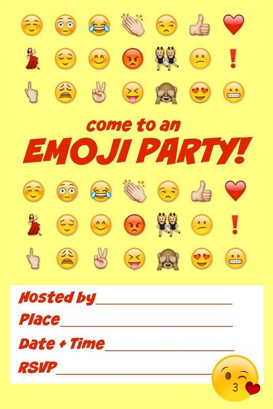 Emoji Birthday Invitations Blank