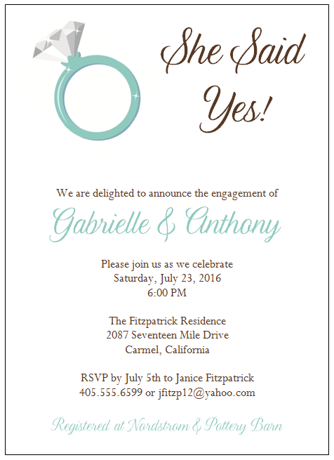 Engagement Party Invitation Wording Casual
