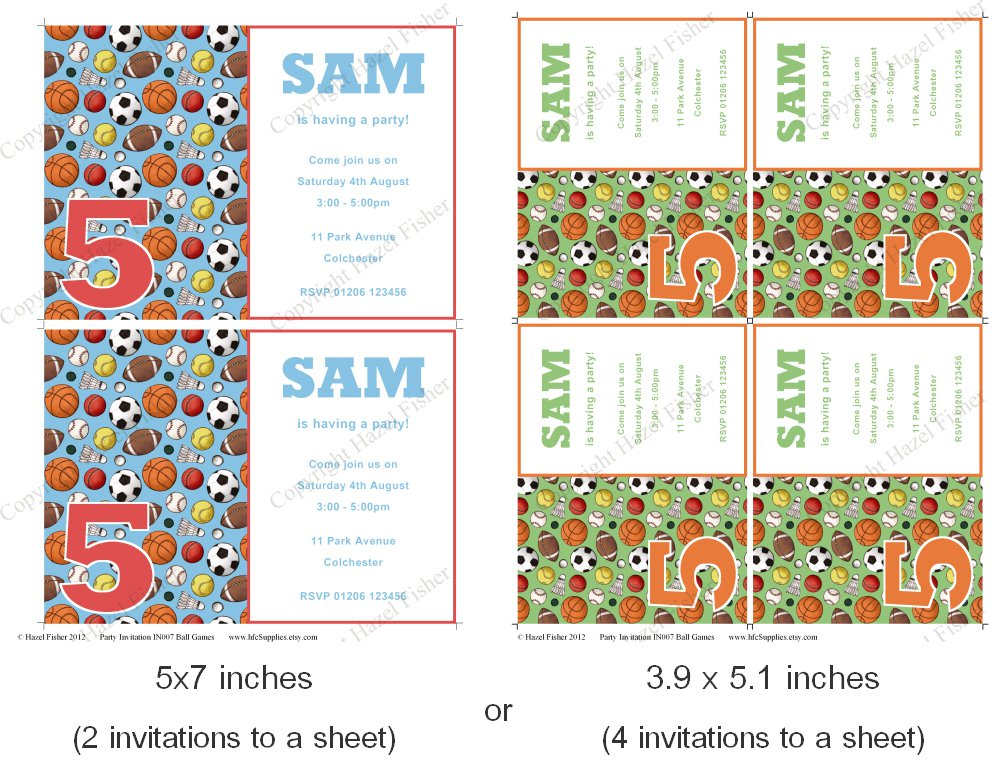 Etsy Printable Party Invitations