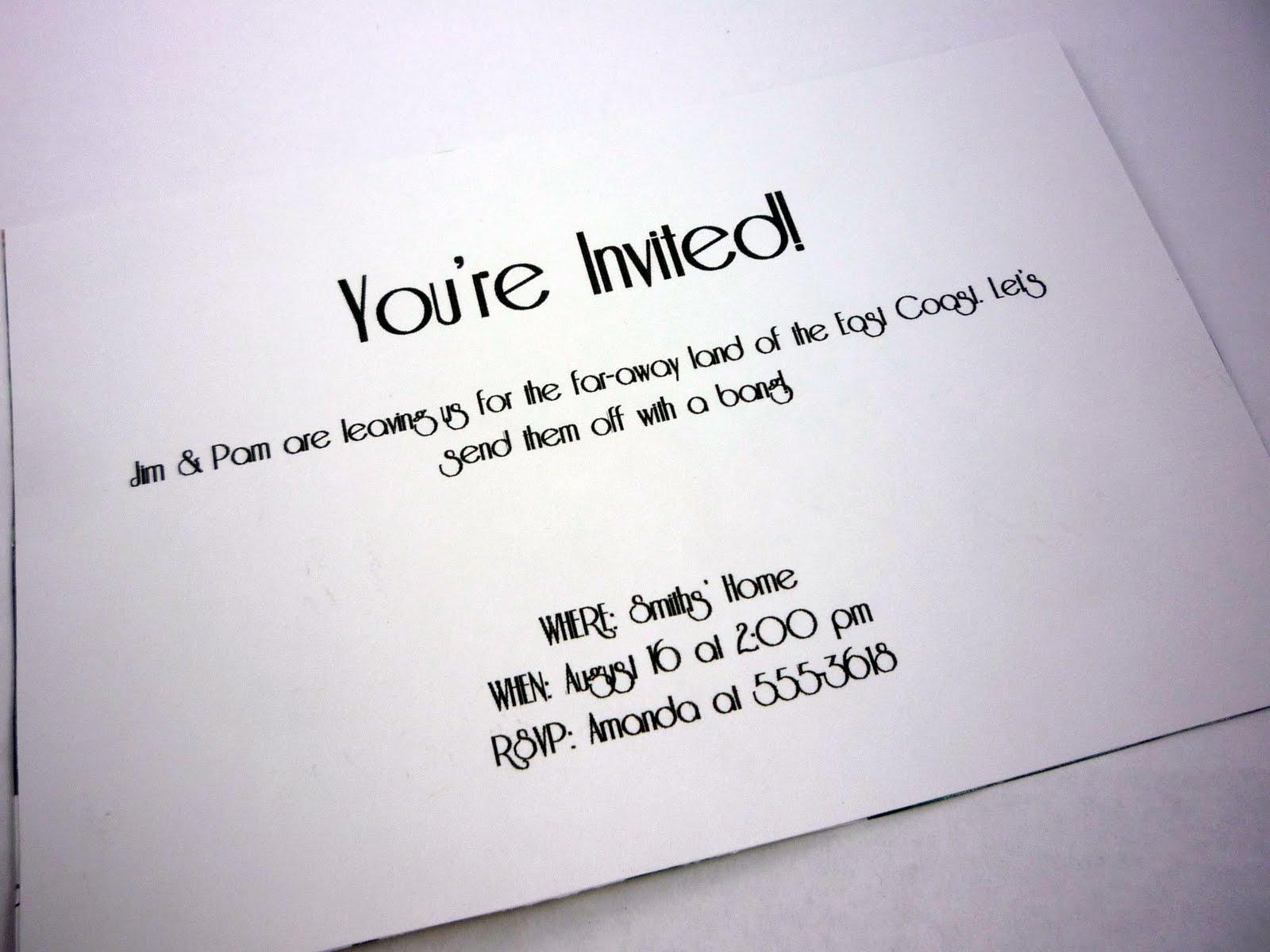 Fare Well Potluck Invitation