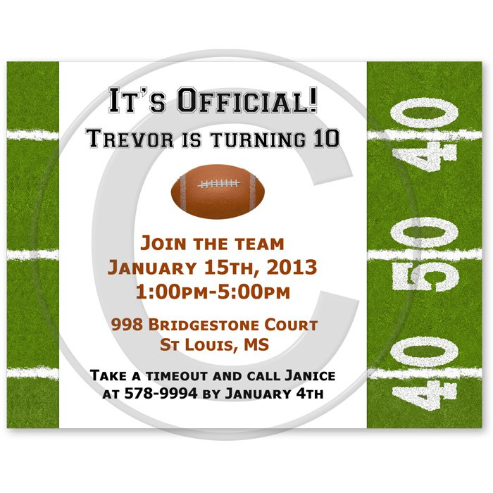 Football Invitation Sample