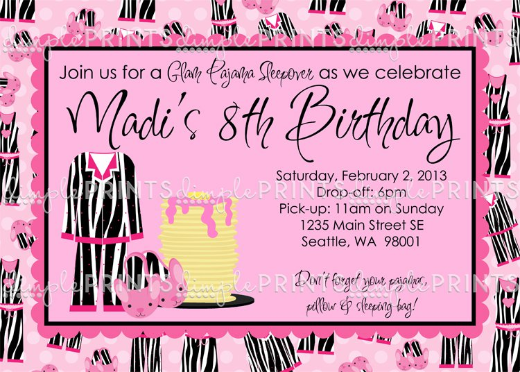 For Pajama Party Invitations Wording