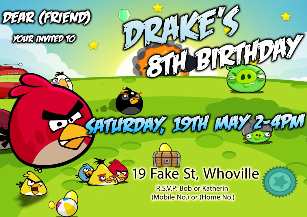 Angry Bird Party Invitations Print – Angry Birds Party Invitations