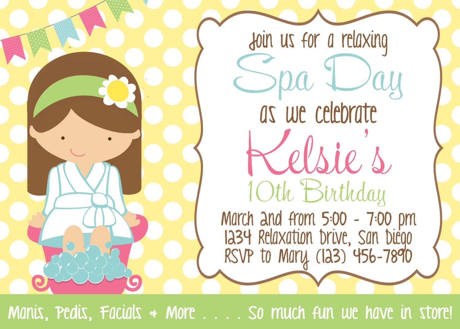 Free Girl Spa Party Invitations Printable