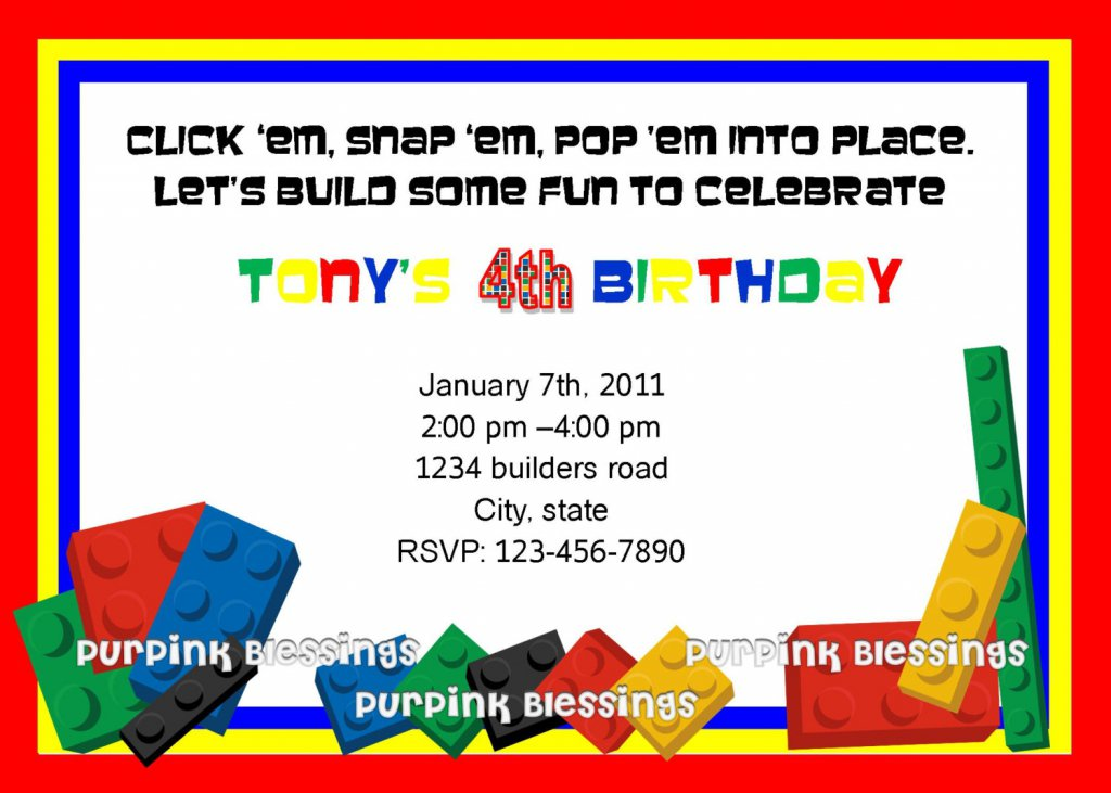 Lego Birthday Party Invitation Templates - Lego birthday invitation template free