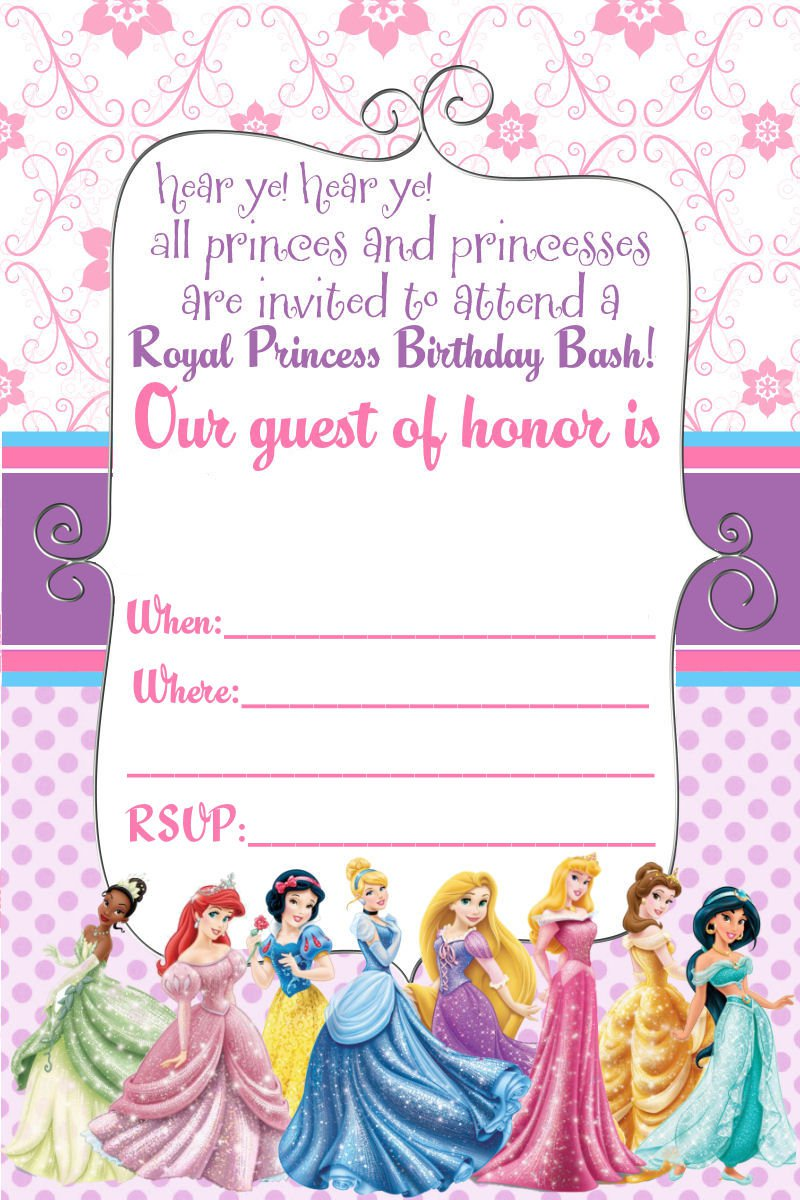 Free Online Printable Disney Princess Invitations