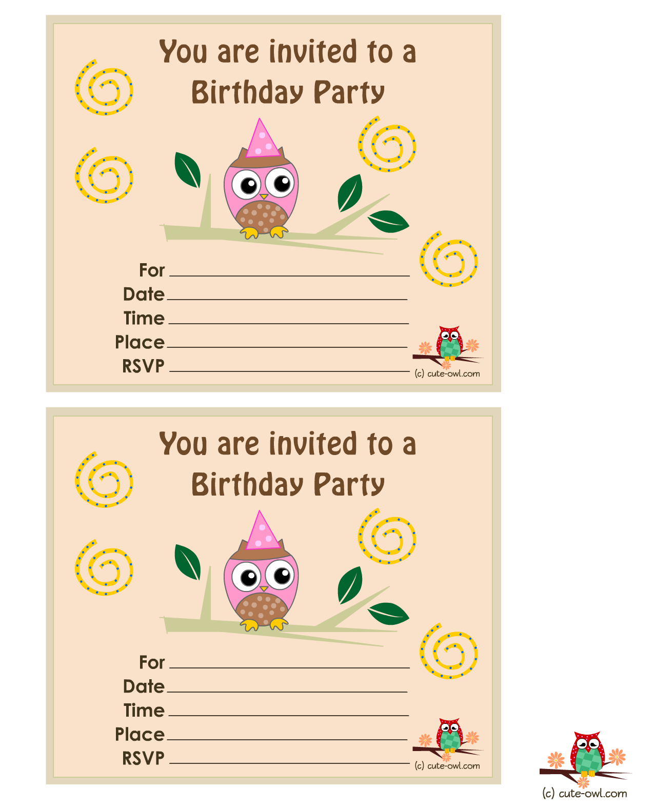Free Owl Printable Party Invitations