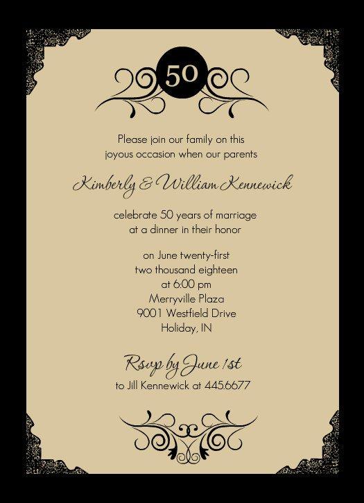 Free Printable 50th Anniversary Party Invitations