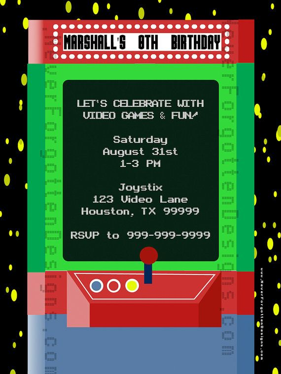 Free Printable Arcade Birthday Invitations