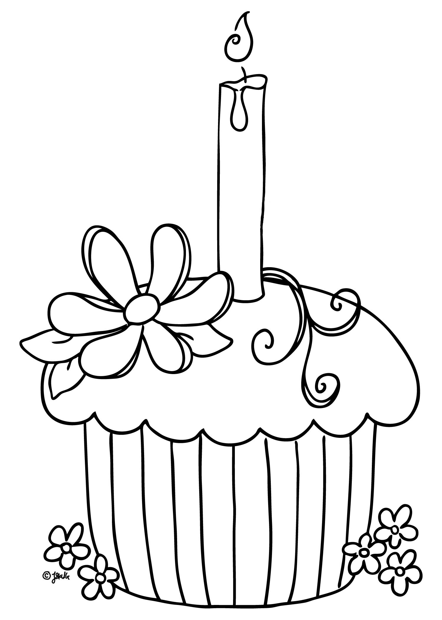 Free Printable Birthday Cupcake Coloring Pages